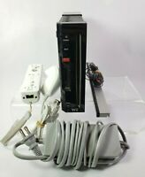 Nintendo Wii Black Console System Bundle RVL-001 Power / Sensor / Wiimote TESTED