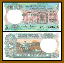 India 5 Rupees, ND 1975 P-80 Tractor and Farming Unc with Pinholes