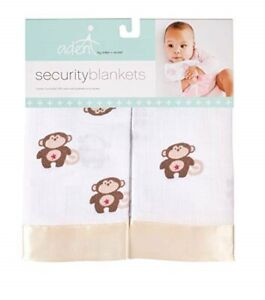 NWT Aden & Anais Monkey White Muslin And Gold Satin Trim Baby Security Blanket
