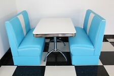 American Diner Furniture 50s Style Retro Booth Table & Blue Nashville Booth Set