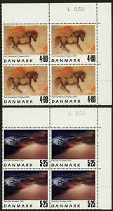 DENMARK #1190-1191 Contemporary Art Postage Stamp Corner Blocks EUROPE 2000 MNH
