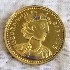 King ludeca 823 - 825 21 mm 22 KT GOLD PLATED MARCHIATO ARGENTO PROOF MEDAGLIA