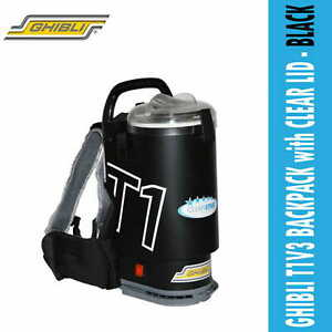 GHIBLI T1V3 BACKPACK VACUUM CLEANER with CLEAR LID - BLACK, Free Postage