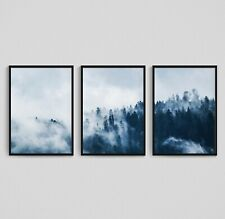 Forest Prints Set of 3 Wall Art Misty Foggy Forest Scandinavian Living Room