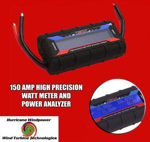 150 AMP WATT METER WITH SPECIAL HEAVY 12 AWG WIRE WIND GENERATOR SOLAR DC INLINE