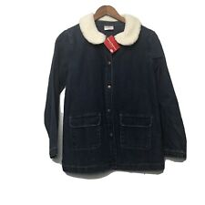 Hanna Andersson Jean Jacket Faux Sherpa Collar Size 140 (10) NWT