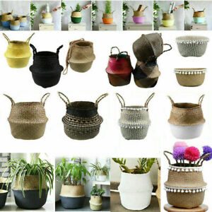 82 Types Seagrass Belly Woven Basket Flower Plants Pots Storage Bag Home Decor
