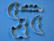 4 Halloween Lot Metal Cookie Cutters Cat Moon Crescent Face Bat Batman Set Bake