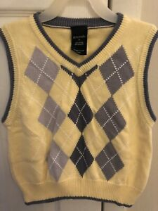 Boys' 5 George Yellow/Gray Argyle Sweater Vest Gently Used