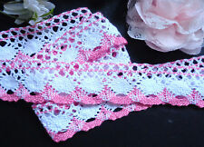 1 1/2 inch wide pink/white  Cotton Lace selling by the yard