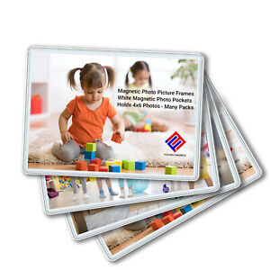 Magnetic Photo Picture Frames - White Magnetic Photo Pockets - Holds 4x6 Photos