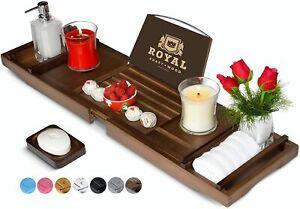 Luxury Bamboo Bathtub Caddy Tray Brown
