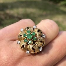 18K Yellow Gold Diamond Emerald Floral Cocktail Mid-Century Ribbon Knot Ring