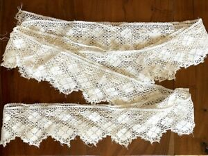 "Antique Lace Trim 90"" X 3-4"" Skirt Petticoat Edging White Micro Crochet Clovers"