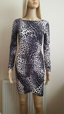 Lipsy Long Sleeve Ruched Leopard Print Wrap Style Stretch Bodycon Dress UK10