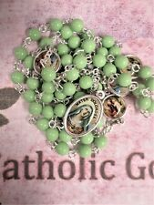 6 mm Green beads - Silver tone + Enamel Medals - 7 Sorrows of Mary Chaplet