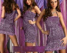 Sexy MISS Donna Leopard bandeau Girly Mini abito Palloncino 34/36/38 Freesize NUOVO