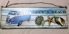 WALL SIGN - Timber - Life's A Beach - VW Combi and Shells - Dual Jute Hanging !!