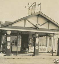 ANTIQUE GAS STATION SERVICE RED CROWN GAS GLOBE ETHYL POLARINE MOTOR OIL PHOTO