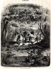 Sécurité.Cornucopia Stampa Antica Allegorica La Sicurezza Passepartout.1849