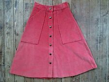 VTG Old Town Skirt Corduroy Poly/Cotton Brick Orange 5 Small Snap Button Down 24