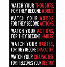Watch Your Thoughts Motivational Poster Print 13x19 in