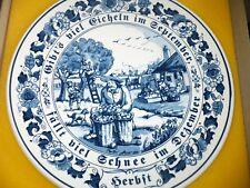 Wandteller Delft Blau Gouda handbemalt in Holland Delfter Blau September Ernte