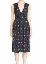 Victoria Beckham NEW Blue Women Size 4 Daisy-Print Twill Sheath Dress $2550- 225