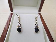 9ct yellow gold  Black Sapphire & Diamond drop Earrings  *NEW*