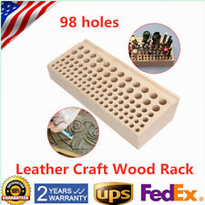 Wood Leather Craft Holder Rack Stand for Accessories Storage Organizer 98 holes