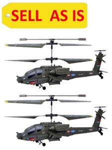 SELL AS IS 2pcs AH64 Apache Military Helicopter RC Gyro Infrared SYMA S109G Used