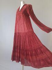 Vintage PHOOL Dress Indian Cotton Anokhi Gauze Festival Boho Genuine 70s 8-10-12