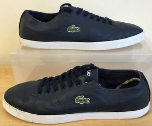 MENS LACOSTE RIBERAC LEATHER TRAINERS NAVY BLUE SIZE UK 9 EU 43
