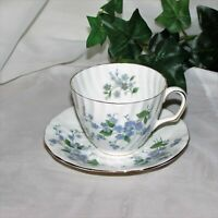 ADDERLEY FORGET-ME-NOT VINTAGE BONE CHINA TEACUP CUP & SAUCER BLUE FLOWERS