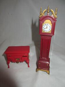 1965 MARX Dollhouse LITTLE HOSTESS Mini GRANDFATHER CLOCK & Red Buffet