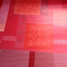 nappe toile cirée ronde ø 160 fin de stock géométrie rouge avec finition biais