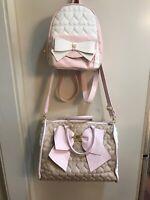 PreOwned BetseyJohnson Tan And Pink Weekender Travel Duffle Bag Luggage/backpack