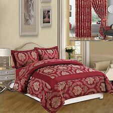 3pcs Luxury Bedspread Jacquard Quilted Bed Spread Comforter Set Pillow Covers Burgandy Double