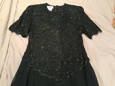 Hunter Green Sequin Top Long Evening Gown Size Large