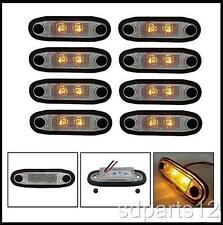 8 x 24V SMD 2 LED ORANGE FEUX DE GABARIT CAMION BAR PARE BUFFLE MARCHE PIEDS