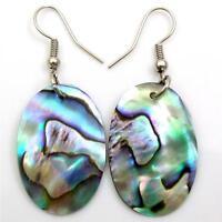 Iridescent Abalone Shell Ovel Dangle Drop Earrings Handmade Women Jewelry FA291