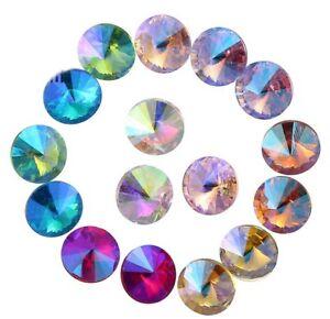 100PCS Mixed Colors AB RIVOLI Fancy Glass Stones (8 Colors) #95620