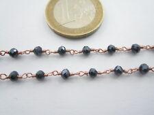 50 cm catena rosario tono rosè concatenato cristallo antracite di 3,5 mm