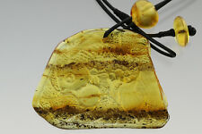 Fossil Insect Baltic Amber Carved FISH Pendant on Leather String 19.2g 180222-1