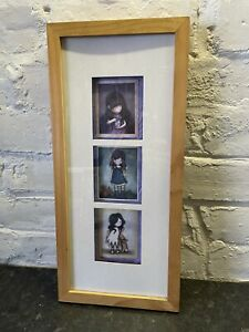 Animee Styled Triple Picture in Frame, Pine Frame White Backing
