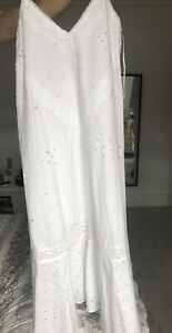ZARA DRESS WITH CUTWORK EMBROIDERY WHITE STRAPPY MAXI 0881/108 XS-S M-L
