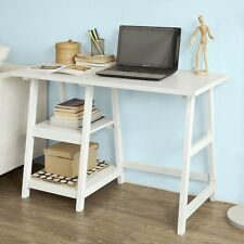 SoBuy® Bureau informatique Table Plan de travail avec 2 étagère-Blanc FWT16-W FR