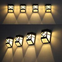 Solar Powered Wall Mount 2 LED Lantern Light Outdoor Landscape Garden Lamp Light