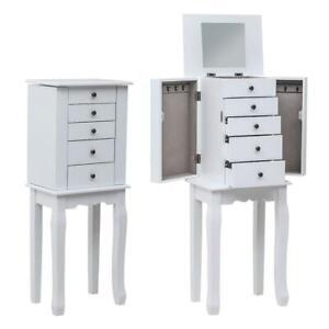 Freestanding Jewelry Cabinet Armoire Storage Organizer with Mirror 5 Drawers