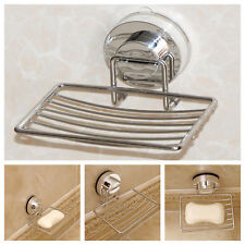 Metal Strong Suction Bathroom Shower Chrome Accessory Soap Dish Holder Tray UK